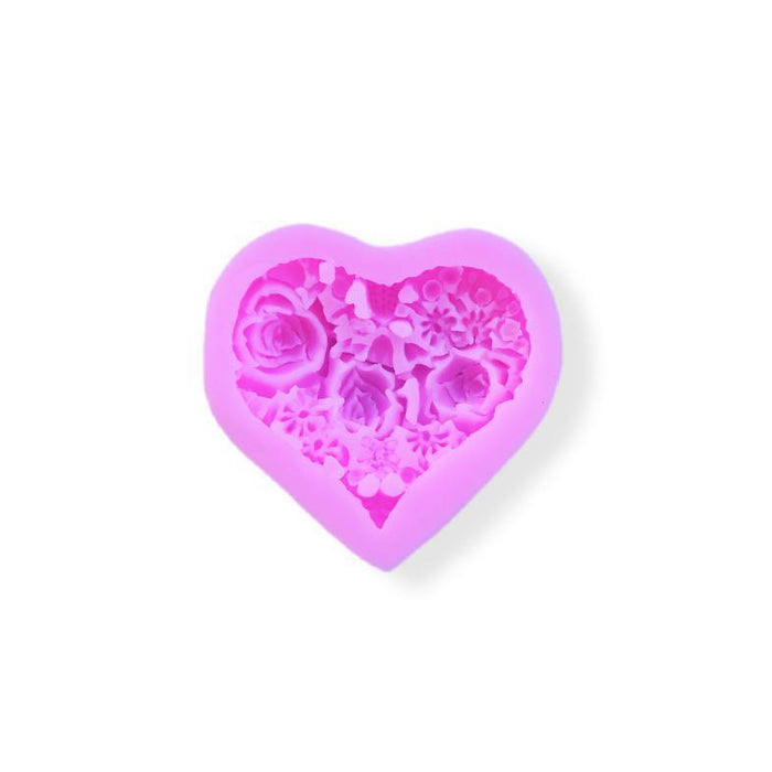 Roses and Heart Silicone Decorating Mold | Decorative Heart Pattern-Silicone Molds-Bakell- | Bakell.com