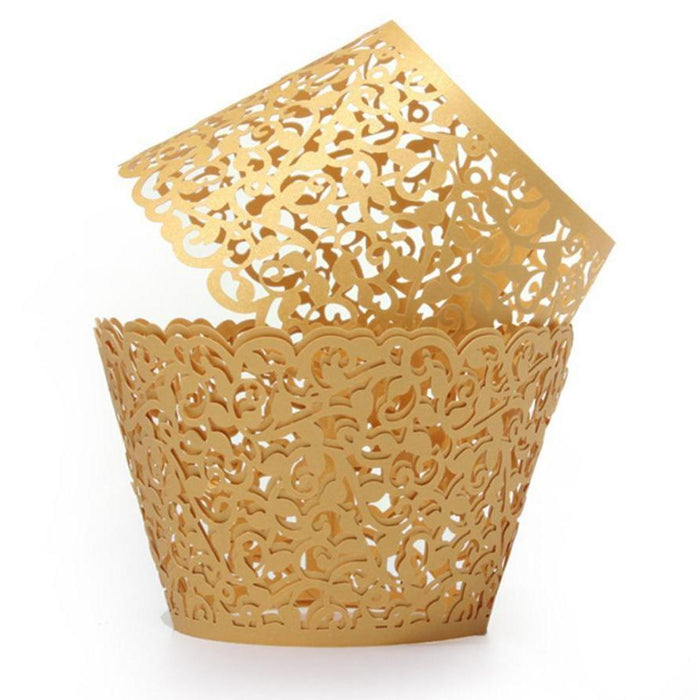 Royal Gold Lace Cupcake Wrappers & Liners | 12 PC Set-Wrappers & Liners | Bakell.com