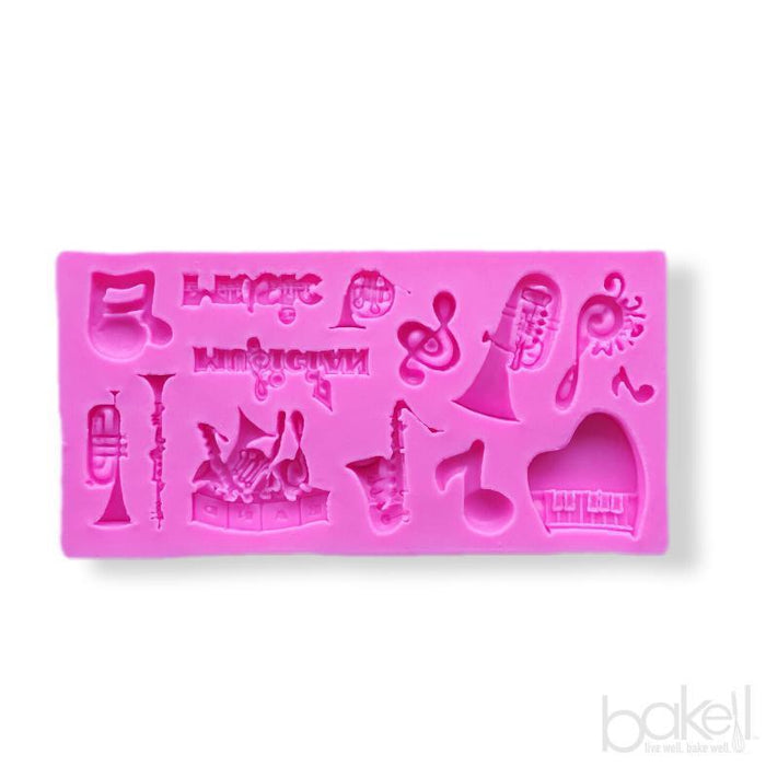 SMALL (Jewelry Size) Music Instruments Orchestra and Band Silicone Mold-Silicone Molds-Bakell- | Bakell.com