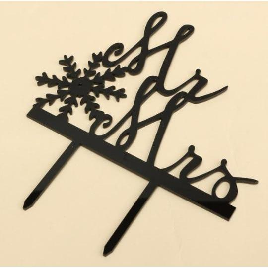 Snowflake Christmas Love Mr and Mrs Wedding Cake Topper-Cake Toppers-Bakell- | Bakell.com