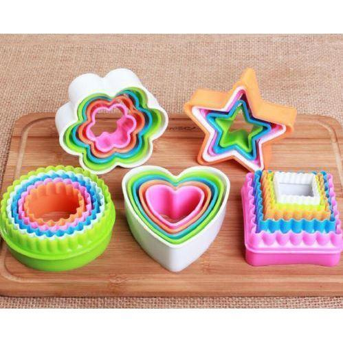 Square Colorful Nested Two Sided Cookie Cutters Set-Cookie Cutters-Bakell- | Bakell.com