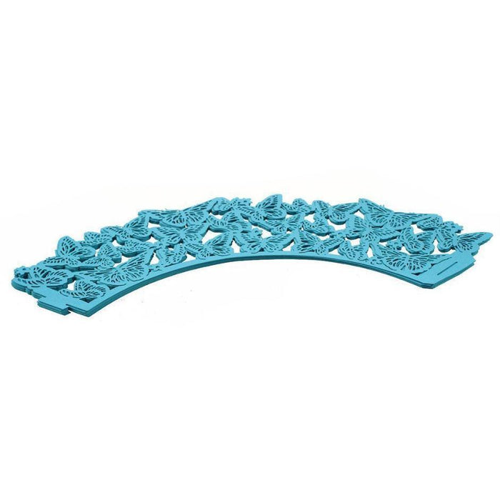 Turquoise Blue Butterfly Lace Cupcake Wrappers & Liners | Bakell.com