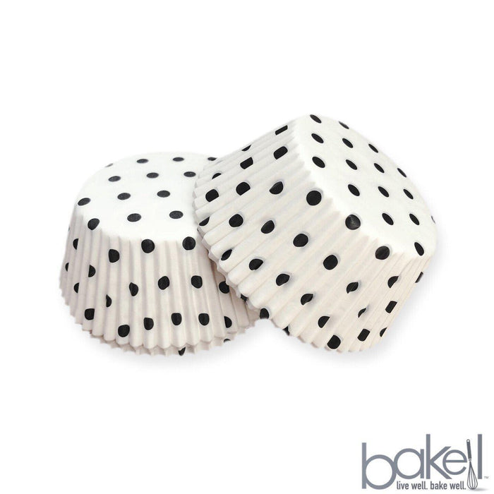 White & Black Polka Dot Wrappers & Liners | Bakell.com