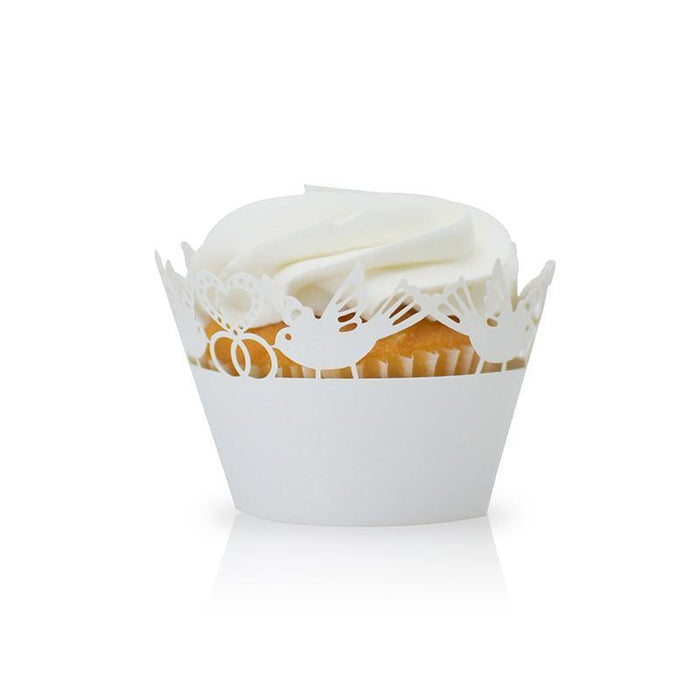White Dove Hearts Cupcake Wrappers | Bakell.com