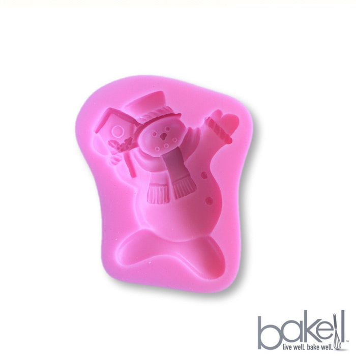 Winter Snowman With Birdhouse Silicone Mold | 2.5 Inch from Bakell.com