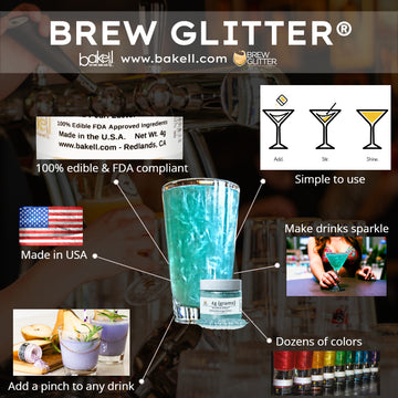 Edible Cocktail Glitter | 100% Edible glitter for beer, wine, cocktails & champagne | FDA Approved & Kosher Certified | Bakell.com