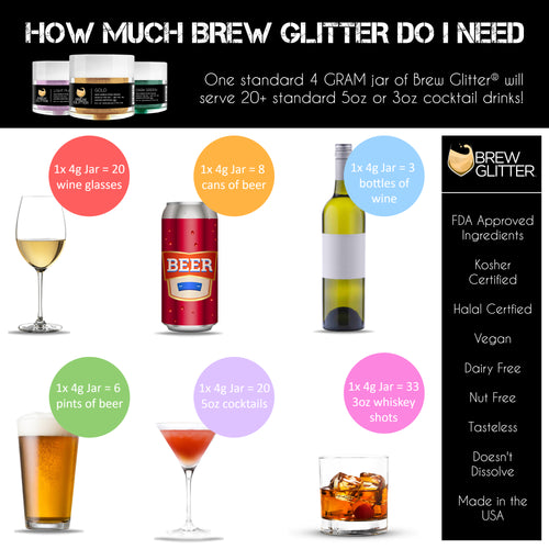 How much edible glitter should I put in my drinks?