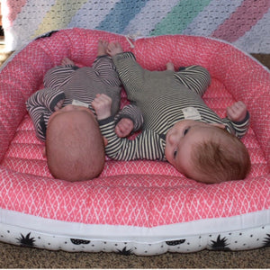 canadian made twin baby nest , baby dock , infant nest , co sleeper for twins made in custom fabrics to match your nursery