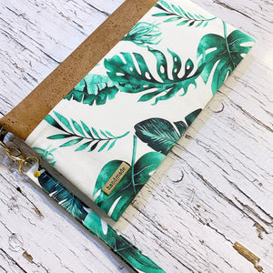 Boho green leaf with natural cork mom clutch