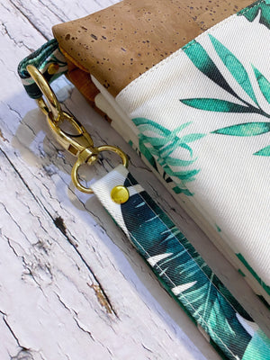 clutch with green leaf print, gold hardware