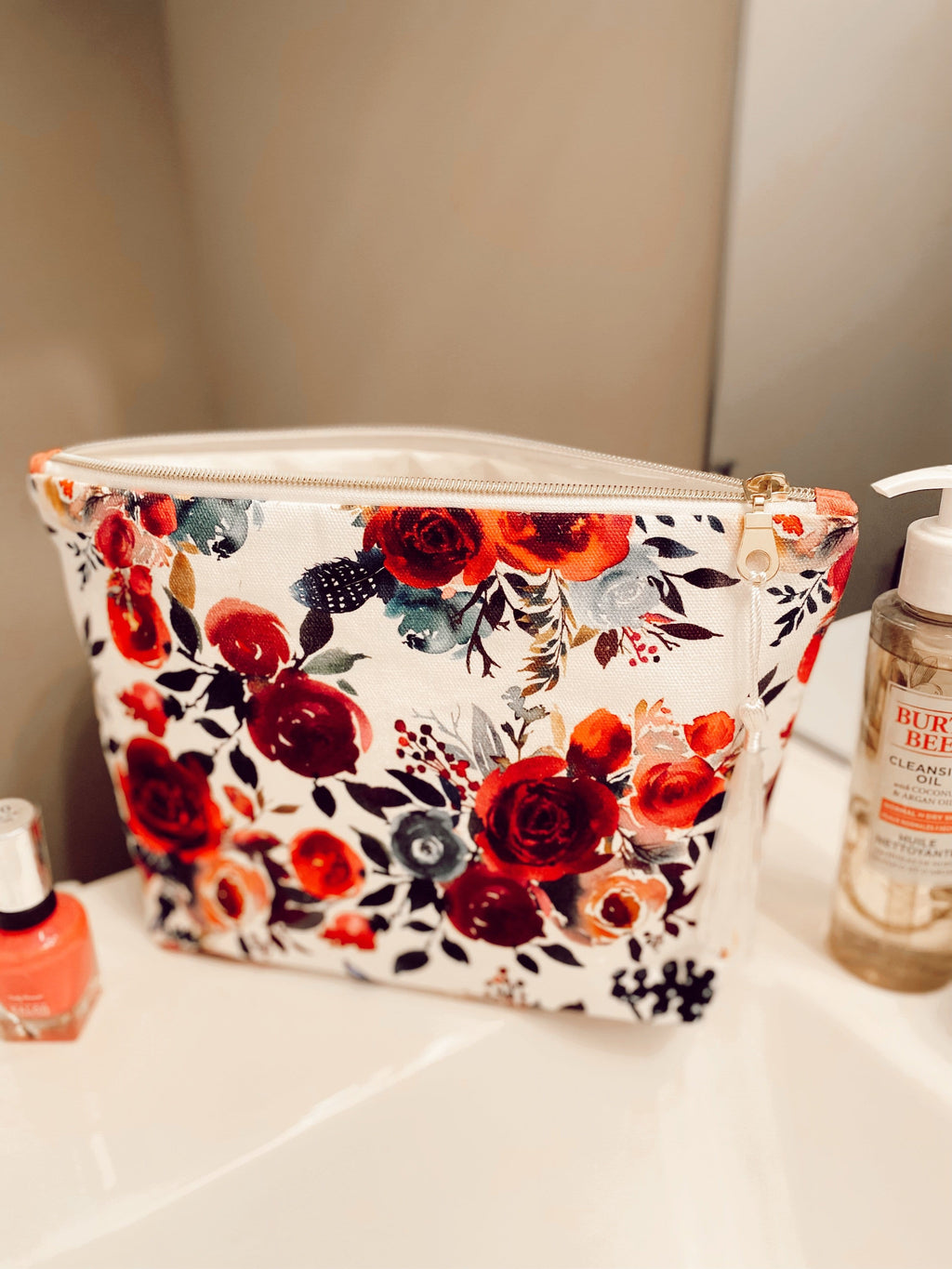 Winter floral large cosmetics bag