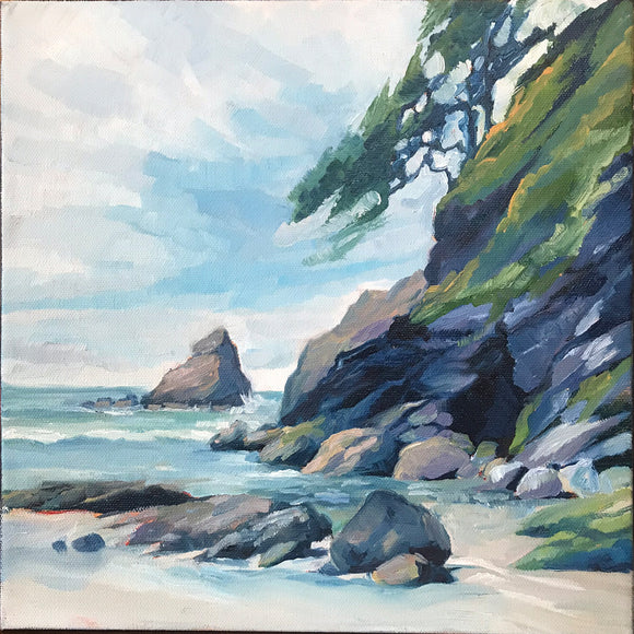 Heceta Head Beach 12 inch by 12 inch Original Oil on Canvas Painting