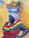 "Palenques- Colombian Fruit Seller in Colombia-12"" by 12"" Oil on Canvas Painting"