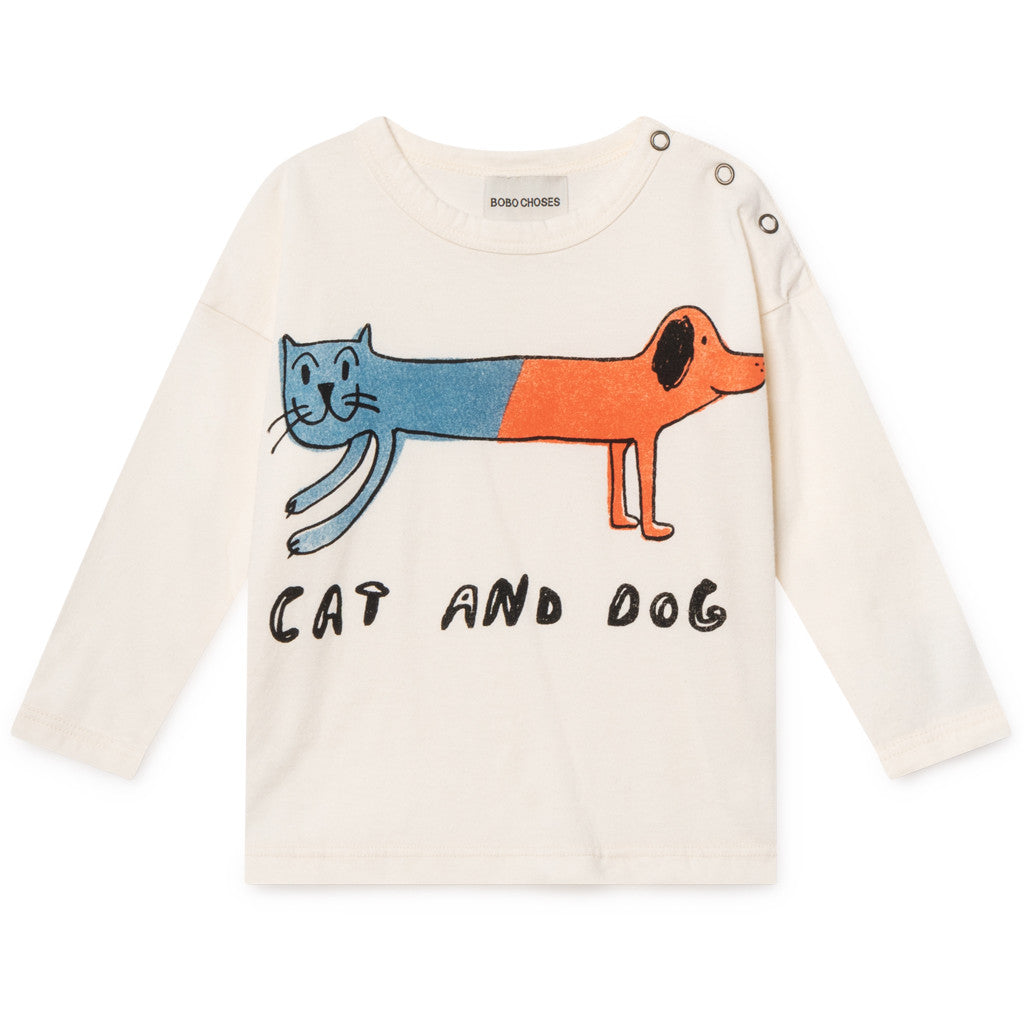 Bobo Choses | Cat And Dog Round Neck Baby Shirt | cream