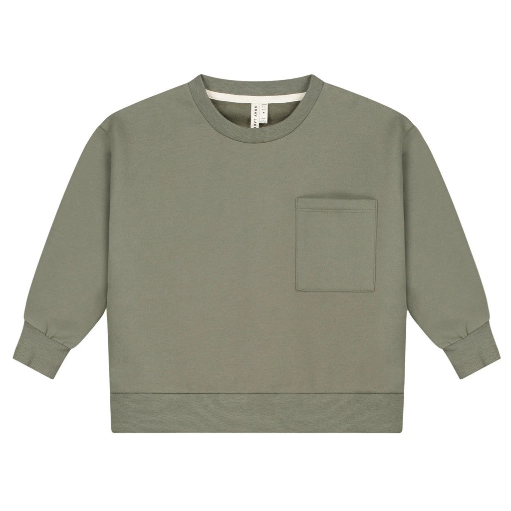 Gray Label | Kinder Boxy Sweater Pullover | Moss Grün