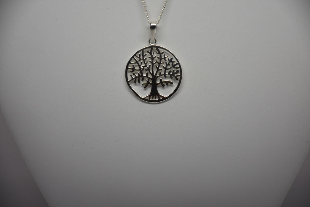 Irish Assayed Hallmarked Sterling Siver Tree of Life Pendant & Chain P805/29/11/18