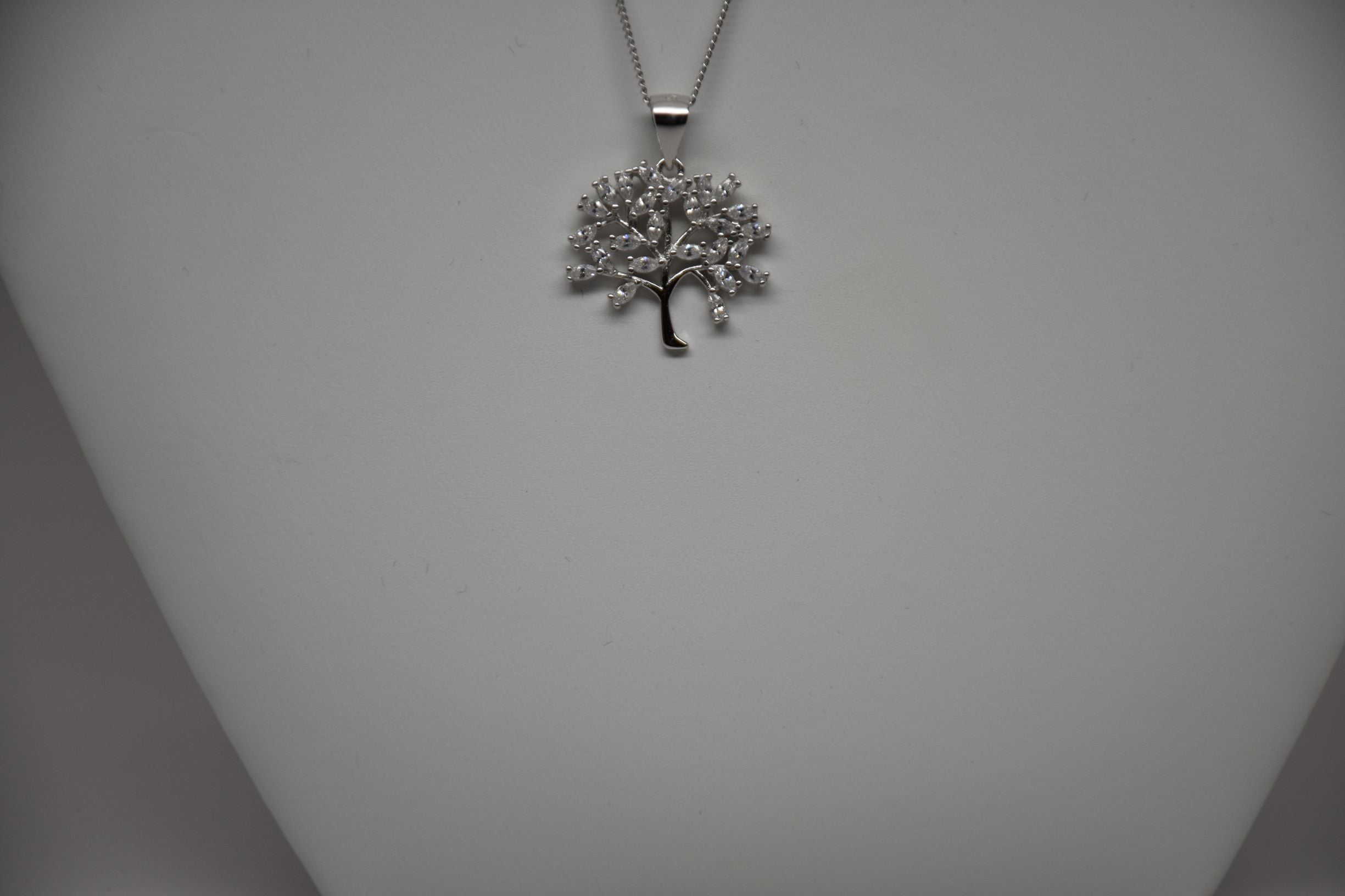 Irish Assayed Sterling Silver Tree Pendant set with clear cubic zircon P803/29/11/18