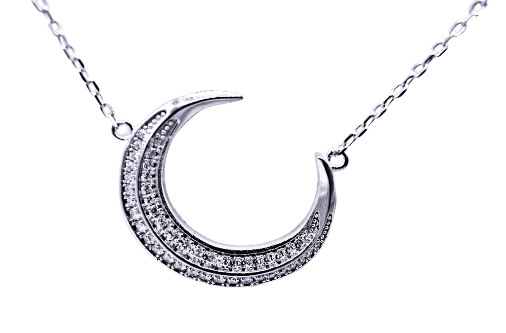 Sterling Silver Moon Necklace r 57-20-06-18