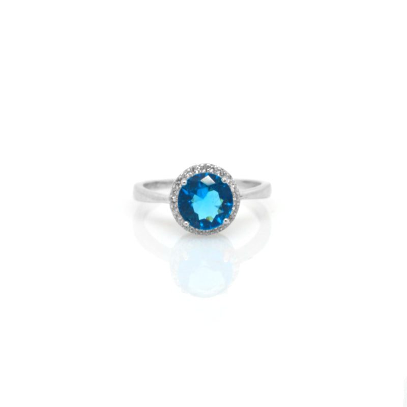 Turquoise Cubic Zirconi Sterling Silver Ring  R105-15-05-18