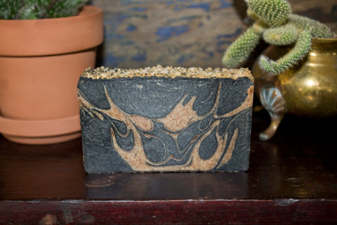 Lemon, Black Pepper & Sugarcane with Charcoal front - Almond Oil Bar Soap - Pristine Thirteen Naturals