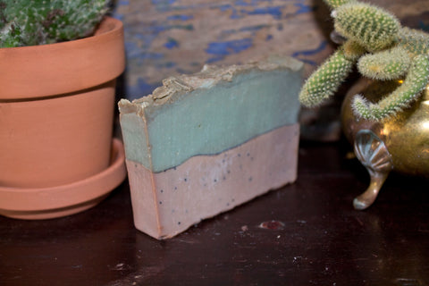Vanilla Mint with Ground Pumice angled - Palm Oil Bar Soap - Pristine Thirteen Naturals