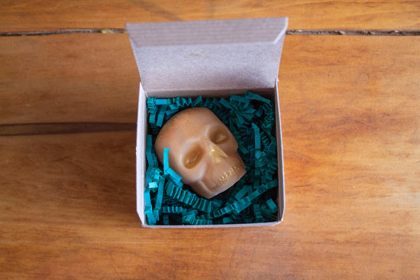Gold Skull painted Gold, Novelty Skull Soap Packaged , Pristine Thirteen Naturals