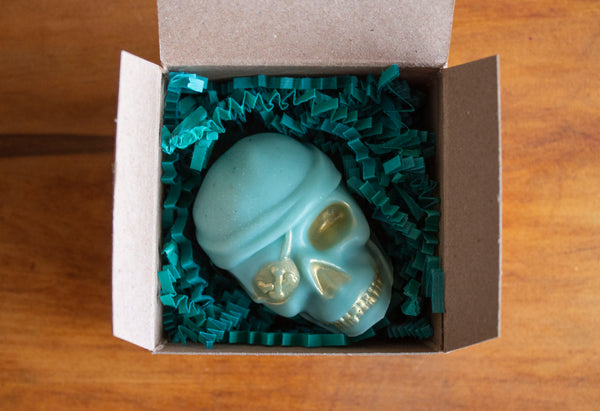 Teal Pirate painted Gold, Novelty Skull Soap Packaged, Pristine Thirteen Naturals