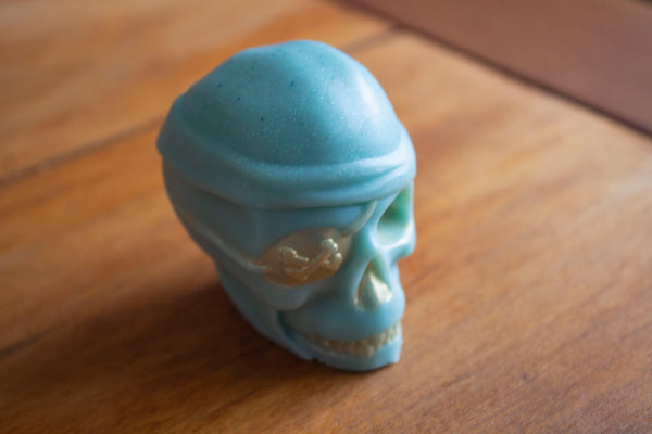 Teal Pirate painted Gold, Novelty Skull Soap, Pristine Thirteen Naturals