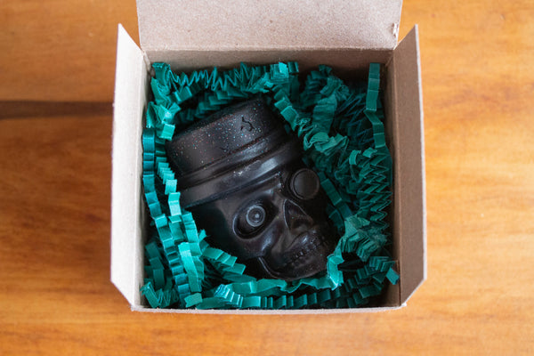 Black, Top Hat Skull Novelty Soap Packaged, Pristine Thirteen Naturals