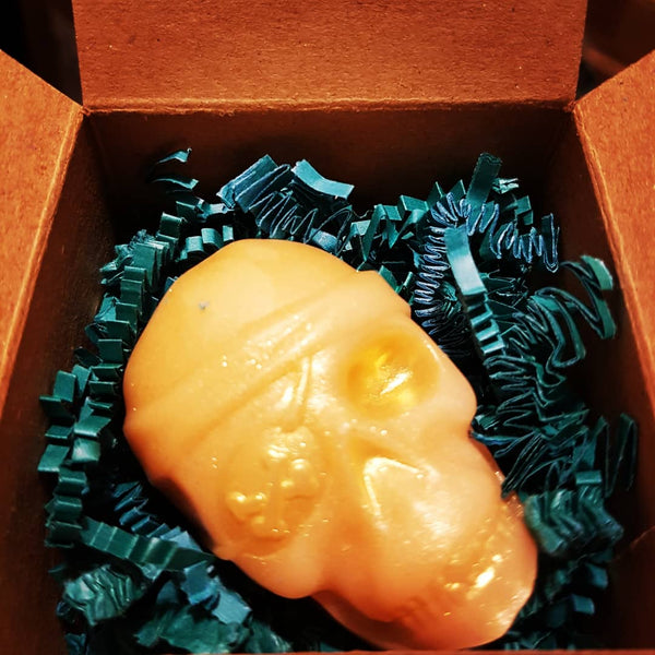 Gold Pirate painted Gold, Novelty Skull Soap, Pristine Thirteen Naturals