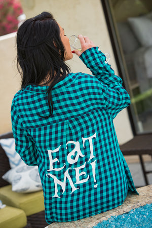 Eat Me Flannel - Teal