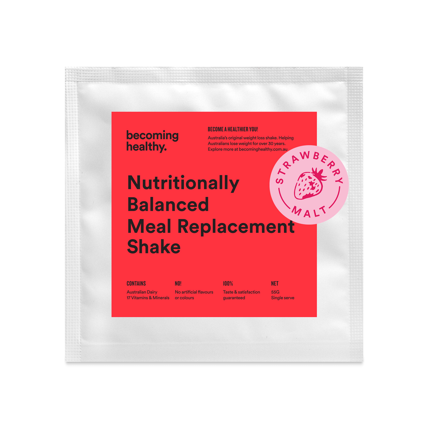 Strawberry Malt - Nutritionally Balanced Meal Replacement Shake - Becoming Healthy