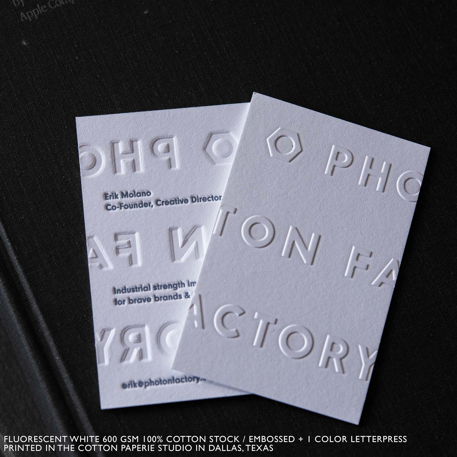 Foil stamped business cards cotton paperie letterpress foil stamped business cards colourmoves