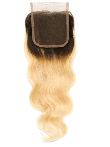 Russian Blonde Dark Root Body Wave Closure