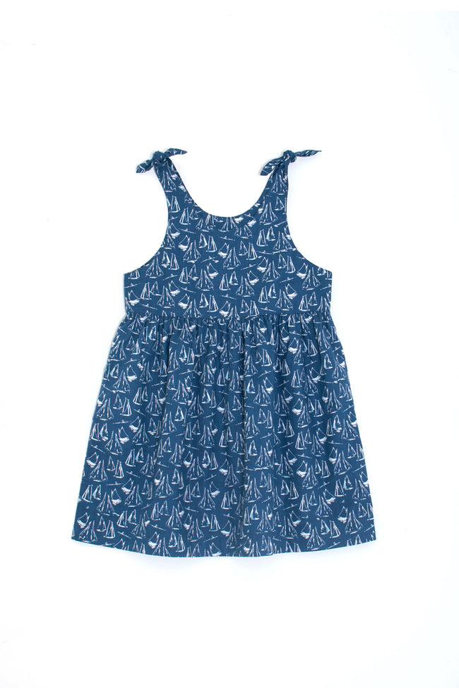 Molly Tie Dress Navy Sailboat