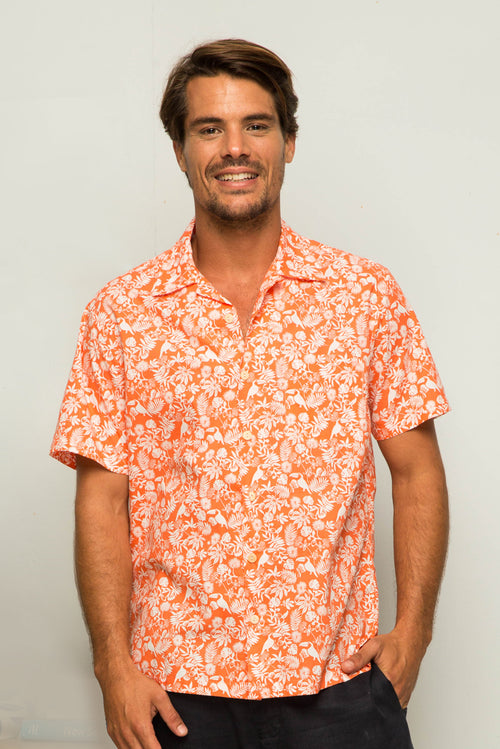 By The Sea Bali Bali Tropical Shirt S/S Coral