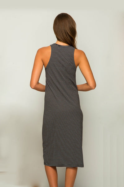 By The Sea Bali Caprera Stripe Dress Black