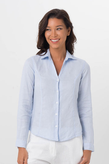 By The Sea Bali Angra Linen Shirt L/S Blue