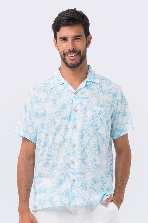 By The Sea Bali Bali Tropical Shirt S/S Blue Tropical Leafs