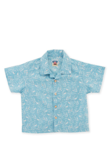 By The Sea Bali Bali Tropical Shirt S/S Blue Sailboat