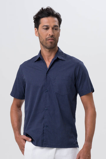 By The Sea Bali Liberty Shirt S/S Navy Polka Dot