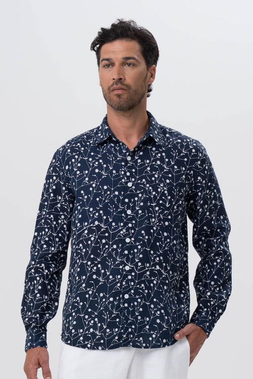 Bintan Linen Shirt L/S Navy - By The Sea Bali