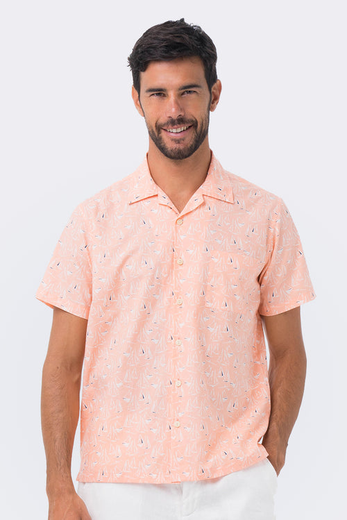 By The Sea Bali Bali Tropical Shirt Orange Sailboat