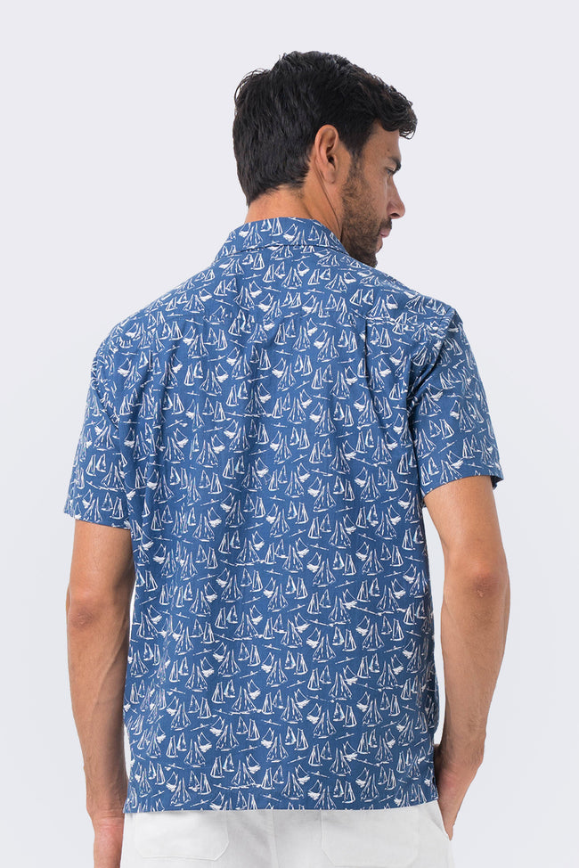 Bali Tropical Shirt Navy Sailboat - By The Sea Bali