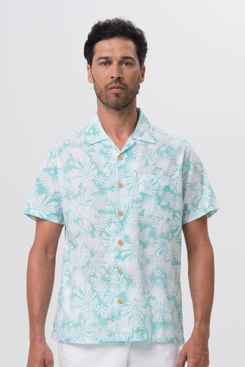 Bali Tropical Shirt S/S Green Tropical Leafs - By The Sea Bali