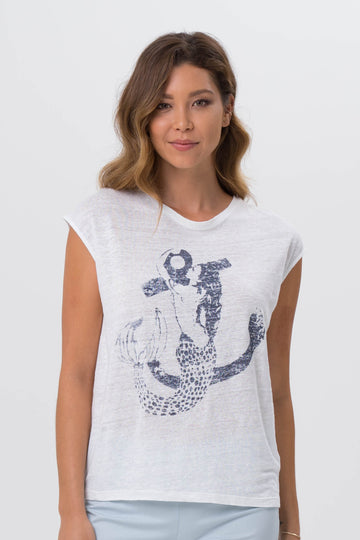 By The Sea Bali Ladies Printed T-shirt Navy