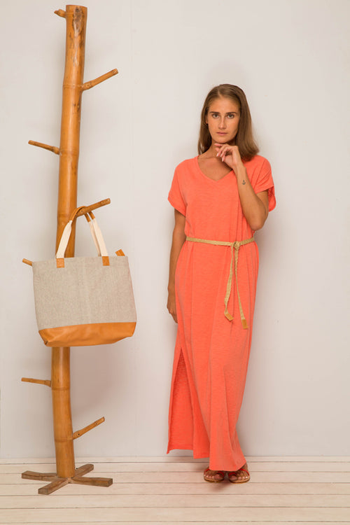 By The Sea Bali Jersey v-neck maxi dress