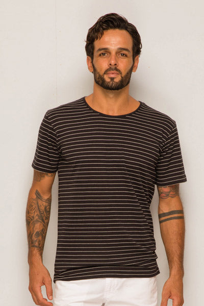 Stripe T-shirt with color contrast Black