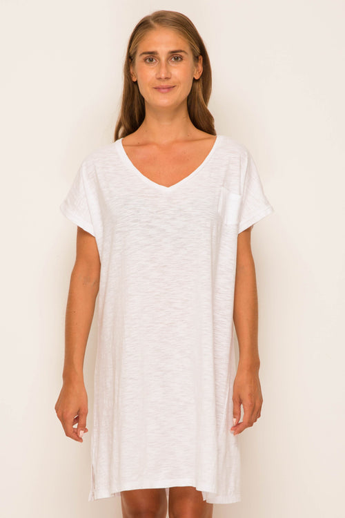 By The Sea Bali Jersey v-neck short dress White