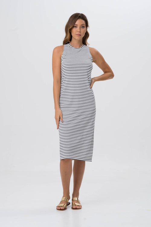 By The Sea Bali Caprera Stripe Dress Off White